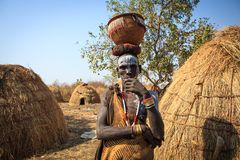 Mursi Tribe man stock photos
