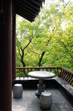 Jinling corner of the garden. This is Chinese Park in Nanjing, a scene, a side pavilion angle, placed a stone table and chairs. Can imagine, master tea here Royalty Free Stock Photos