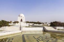 Jinnah Mausoleum in Karachi, Pakistan. This photo is taken in Karachi City, Pakistan. Mazar-e-Quaid, also known as the Jinnah Mausoleum or the National Mausoleum stock photo