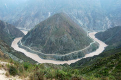 Jinshajiang River Bend. A horseshoe bend on the Jinshajiang River, the upstream of Yangtze River Royalty Free Stock Photos