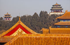 Jinshang Park Forbidden City Yellow Roofs Beijing Royalty Free Stock Photos
