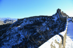 The Jinshanling Great Wall Winter in Chengde Hebe, China royalty free stock photo