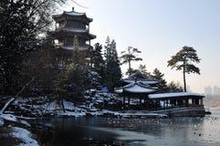 JinShanpavilion snö Royaltyfria Bilder