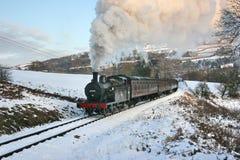 Jinty ångalokomotiv på en Santa Special på Keighleyen och Woen Fotografering för Bildbyråer