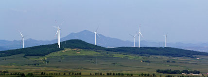 Jinzhou City, Liaoning Province electricity windmill farm Royalty Free Stock Image