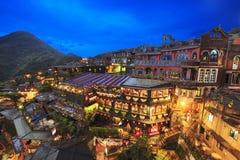 Jioufen村庄,台北,台湾夜场面  免版税库存照片