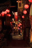 Jioufen, Night, red beverage, streets Royalty Free Stock Photo