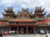 Jioufen, Taiwan - May 2018: People celebrating Buddha`s birthday at the Buddhist Temple in Jioufen, Taiwan. Asia royalty free stock images