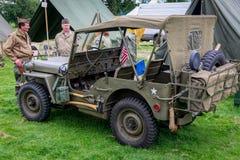 Jipe do exército dos EUA da segunda guerra mundial Fotos de Stock