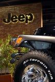 Jipe em uma mostra de motor Fotos de Stock Royalty Free
