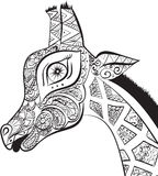 Jirafa adulta hermosa Ejemplo dibujado mano de la jirafa ornamental Jirafa aislada en el fondo blanco El jefe de un orna Imágenes de archivo libres de regalías