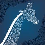 Jirafa adulta hermosa Ejemplo dibujado mano de la jirafa ornamental Jirafa en el fondo blanco El jefe de un orna Fotografía de archivo