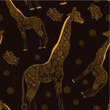 Jirafa adulta hermosa Ilustración drenada mano Fotografía de archivo libre de regalías