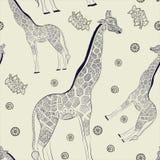 Jirafa adulta hermosa Ilustración drenada mano Foto de archivo libre de regalías