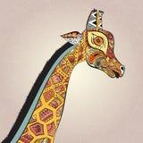 Jirafa adulta hermosa Ilustración drenada mano Imagenes de archivo