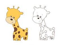 Jirafa amistosa linda del gatito, animal de la jirafa, mundo animal, ejemplo, pintura, libro de colorear, los libros de niños fotos de archivo