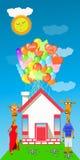 Jirafa con muchos globos en la casa libre illustration