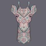 Jirafa del vector con los ornamentos étnicos Foto de archivo libre de regalías