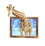 Jirafa en el marco de bambú con el efecto 3d Foto de archivo