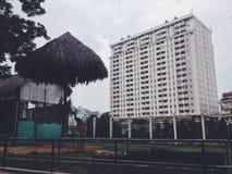 Jirafa en el parque zoológico de Saigon con un alto edificio en el fondo Imagen de archivo