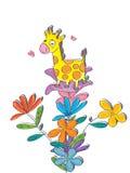 Jirafa Flowers_eps Imagen de archivo libre de regalías