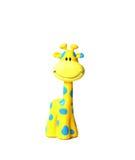Jirafa sonriente colorida del juguete con los puntos azules Imagen de archivo