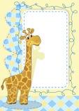 Jirafa. Tarjeta del bebé. Fotografía de archivo