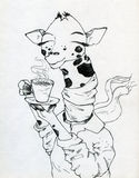 Jirafa y café Fotos de archivo