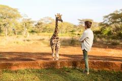 Jirafas de alimentación del muchacho joven en África Imágenes de archivo libres de regalías