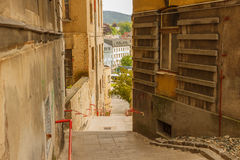 Jiraskova stairs from the street at the bus station Eurocentrum. Taken May 22, 2016 in Jablonec nad Nisou, Czech Republic view on the staircase between houses Stock Photos