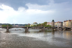 Jiraskuv bridge and old town in Prague Stock Photography