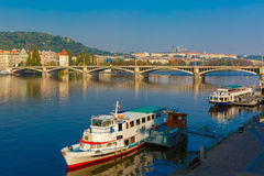 Jiraskuv bridge in Prague, Czech Republic stock photos