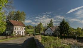 Jiretin pod Jedlovou village in spring sunny morning stock image