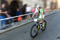 Jiri Hudecek in Prague Steps bike race 2014 Royalty Free Stock Photos