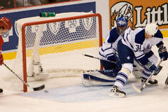 Jiri Hudler Puts The Puck Past Andrew Raycroft  Of The Toronto Maple Leafs Royalty Free Stock Image