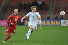 Jiri Skalak and Matt Targett. PRAGUE 27/03/2015 _ Friendly match Czech Republic U21 - England U21 Royalty Free Stock Image