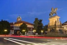 Jiri z Podebrad Statue. In the night light Stock Image