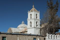 A church in the village of Jirira in the `Ruta Intersalar` Oruro - Bolivia, South America Royalty Free Stock Photos