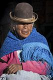 Unidentified bolivian elderly woman in the village of Jirira in the `Ruta Intersalar` Oruro - Bolivia, South America Stock Image