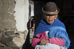 Unidentified bolivian elderly woman in the village of Jirira in the `Ruta Intersalar` Oruro - Bolivia, South America Royalty Free Stock Photography