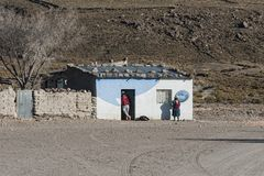 Unidentified bolivian people in the village of Jirira in the `Ruta Intersalar` Oruro - Bolivia, South America Stock Photo