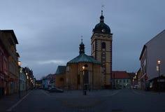 Jirkov, Czech republic - December 08, 2018: Kostel svateho Jilji church in historical centre of Jirkov city at winter evening stock image