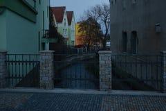 Jirkov, Czech republic - December 08, 2018: river Bilina in historical centre of Jirkov city at winter evening stock photos