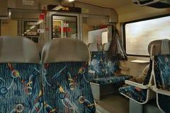 Jirkov, kraj di Ustecky, repubblica Ceca - 20 novembre 2016: interno del giro drahy di Ceske della società di OS 7007 del treno p Fotografia Stock