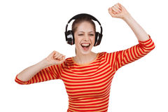 Jirl in a striped t-shirt and headphones Royalty Free Stock Photo