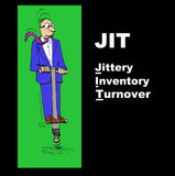 JIT. Business illustration showing jittery businessman on a pogo stick and the acronym 'JIT' (Just In Time) with the play on words, 'Jittery Inventory Turnover Stock Photos