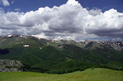 Jiu-Cerna area. Jiu-Cerna Pass area view from Oslea Mountain Stock Image