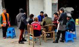 Jiu Chi Town, China: People Playing Cards Stock Photo