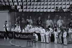Jiu Jitsu fighters with Hanshi at Romanian Championship, Juniors, May 2018. Jiu Jitsu students in Kimono with Hanshi. Jiu-Jitsu Romanian Championship took place Stock Photography