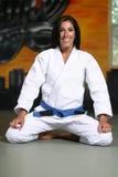 Jiu Jitsu Girl. Attractive Young Girl in a White Jiu Jitsu Uniform Stock Photography